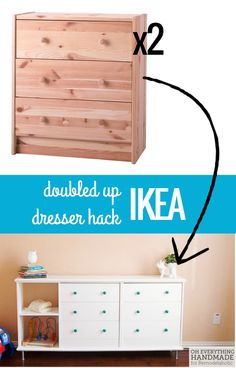 Double IKEA Rast chest hack to make a long dresser with storage cubbies, Oh Everything Handmade on @Remodelaholic