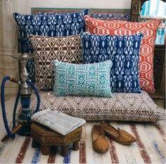 Modern traditional pillows love the colors and print