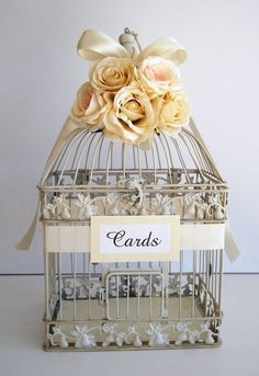 Large Wedding Bird Cage Card Holder