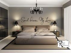 Bedroom Decal Sweet Dreams, My Love #3 Vinyl Bedroom Wall Decal - Bedroom Decor by RoyceLaneCreations on Etsy https://www.etsy.com/listing/163911831/bedroom-decal-sweet-dreams-my-love-3