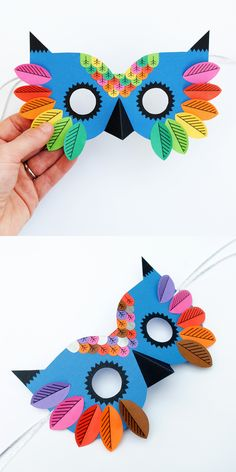 Colourful owl mask craft project for the kids (including free printable templates - love love LOVE the bright colours! Halloween Crafts For Kids, Paper Crafts For Kids, Crafts For Teens, Diy Paper, Diy And Crafts Sewing, Diy Arts And Crafts, Easy Crafts, Theme Carnaval, Owl Mask