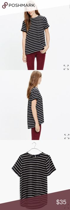 Madewell Silk Tailored Tee in Stripe Madewell Silk Tailored Tee in Stripe, size XS. In great condition! No signs of wear. PRODUCT DETAILS With its feminine drape and higher-in-front hem, this silk top is the T-shirt refined. We love its bold black-and-white stripes.    True to size. Silk. Madewell Tops