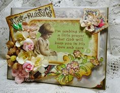 Sweet little girl praying image is from Crafty Secrets Little Blessing Scraps with info on other supplies used by Jan Marie for Craft Hoarders Anonymous Challenge.