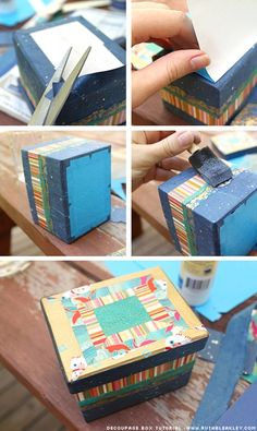 Striped Paper decoupage Box Tutorial {Paper Scrap Buster} – by Ruth Bleakley