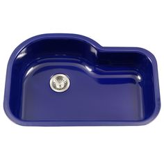 Houzer PCH-3700 NB Porcela Series Porcelain Enamel Steel Undermount Offset Single Bowl Kitchen Sink, Navy Blue