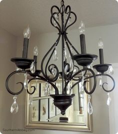 Craigslist Crystal Chandelier Makeover {a Pottery Barn knock off}