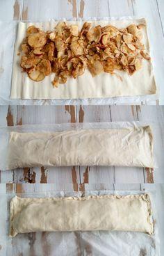 Strudel de manzana 1 paquete de hojaldre pastelería vegana masa 3 manzanas ¾ cucharadita de canela (Azúcar en polvo para el relleno)
