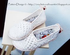 White Lace Slippers/Espadrilles  Crochet Pattern  Instant