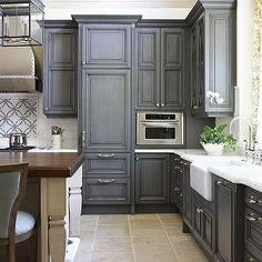 Gray Painted Kitchen Cabinets Traditional Kitchen Traditional Home