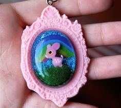sweet kawaii pink deer cameo necklace by chippednailpolish on Etsy, $10.00