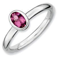0.45ct Silver Stackable Oval Pink Tourmaline Ring. Sizes 5-10 Available Jewelry Pot. $64.99. 100% Satisfaction Guarantee. Questions? Call 866-923-4446. Fabulous Promotions and Discounts!. 30 Day Money Back Guarantee. Your item will be shipped the same or next weekday!. All Genuine Diamonds, Gemstones, Materials, and Precious Metals. Save 61%!