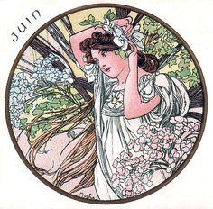 Postcard design for the month June by Alphonse Mucha.// Mois de Juin