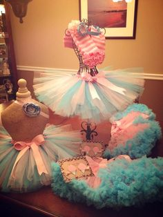 Cotton Candy themed party! Klippies, tutus, pettiskirts, headbands. www.facebook.com/kayleighsklippiesandcompany