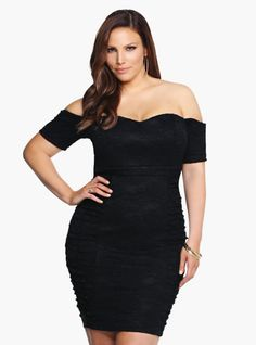 This is one show-stopping lace bodycon! An off-the-shoulder design gives this form-fitting black dress a sexy vibe. Ruched side panels and an allover floral lace pattern make this an unforgettable LBD.