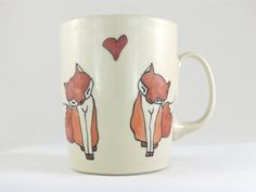 Valentine's Day Gift  Foxes in Love  Coffee Cup  by abbyberkson