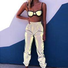 Toneway Clothing Reflective Glowing Hip Hop Sweatpants High Waist Hare Best Picture For Festival Out Neon Outfits, Stage Outfits, Cute Outfits, Fashion Outfits, Fashion Women, Rave Girl Outfits, Silver Outfits, Club Fashion, Festival Looks