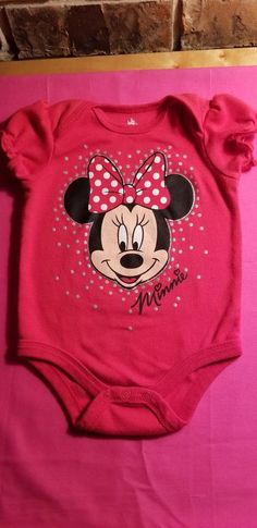 af940c8bbc Infant Girls Disney Baby Minnie Mouse Red 1-Piece Size 6-9 Mos #