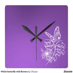 White butterfly with flowers wall clock (purple background)