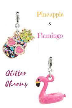 CHARM IT!®️️️2-Pack Glitter Pineapple & Flamingo Float Charms #ad #pineappleandflamingo #pineapple #flamingos #charm #charms #glittercharms