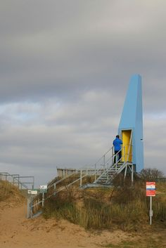 Structures on the edge, Lincolnshire. A series of pavilions reconnecting land and sea, and encouraging use of the beach. MSA Gruff's Sound Tower whistles in the wind, and moves when entered, yo frame a slit view out to sea.