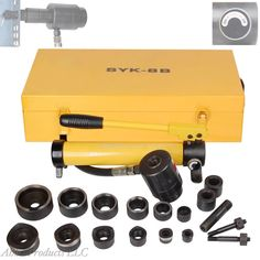 Heavy Duty Industrial Hydraulic Hole Punch Driver Conduit Wire Box Knockout Kit #Unbranded