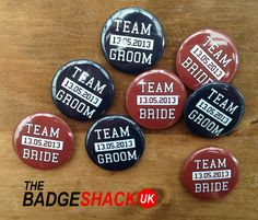 Personalised Team Bride and Team Groom 25mm pack of 16 Badges as wedding favours. From TheBadgeShackUK on Etsy.