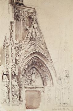 Titulo de la imágen John Ruskin - Southern Porch of St. Vulfran, Abbeville (pencil, ink & wash on paper)