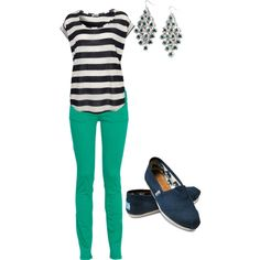 Cute outfit for school except im not a big fan of toms...