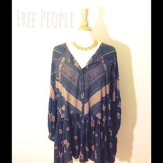 ❇️New item! Retro tunic dress New without tags! Made to be worn baggy. Bust:46 length:33 No trades Free People Dresses Long Sleeve