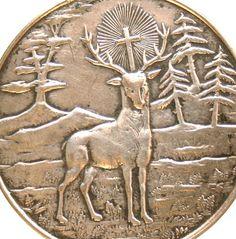 Antique Medal to Saint Hubert Patron Saint of by CherishedSaints