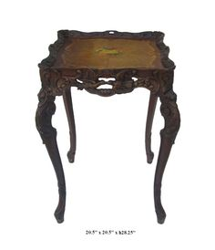 French Style Carving End Table / Plant Stand