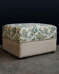 #botanicalfabrics #botanicaldeccor #ottoman #upholstery Grey Ottoman, Green Furniture, Natural Interior, Green Rooms, Raw Wood, Dark Grey, Custom Design, Upholstery, Neutral