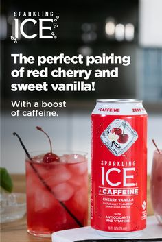 Looking for a special treat? Made with Sparkling Ice +Caffeine Cherry Vanilla, this cocktail provides just the right amount of flavor with a boost of caffeine. Tap the Pin for the recipe.