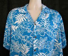 Makai Beach Mens Shirt Size Large Hawaiian Turquoise White Tropical Leaves…