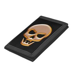 Gold Vampire Skull on Black Background Trifold Wallets