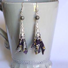 Boucles d'oreilles tissu liberty prune kaki gris - perle cône dentelle argenté - crochets hameçons
