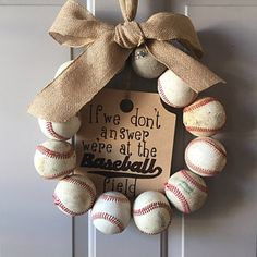 Baseball Wreath, Burlap With Initial Made Using Real Leather Baseballs Painted Wooden Signs, Wooden Tags, Hand Painted, Softball Wreath, Baseball Wreaths, Burlap Bows, Burlap Wreath, Baseball Party Supplies, Baseball Nursery