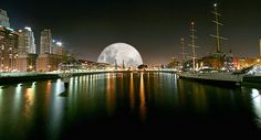 The full moon and a night view of Puerto Madero. Photo #10 by Luis Argerich