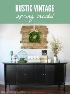 Rustic Vintage Spring Mantel via thinkingcloset.com