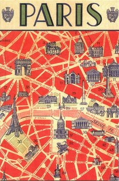 It's simple. Everyone should have a map of Paris. This one shows all the sites you would have learned about if you took French. The red adds the excitement that is Paris. Paris postcard map #France #mapgeek @BadgerMaps