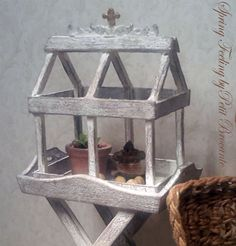Mini conservatory with table dollhouse by PetitBrocanteMinis