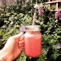 Watermelon, strawberry, chia and coconut smoothie. So so good - and no guilt.