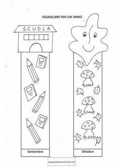 Collegamento Diy Bookmarks, Corner Bookmarks, Activities For Kids, Crafts For Kids, Autumn Crafts, Preschool Classroom, Classroom Organization, New Books, Coloring Pages