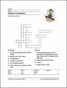 Winter Printables: Winter Crossword Puzzle