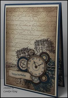 King's on Paddington: Clockworks Trio with En Francais background stamp in Crumb. - King's on Paddington: Clockworks Trio with En Francais background stamp in Crumb cake & night of - Masculine Birthday Cards, Birthday Cards For Men, Masculine Cards, Male Birthday, Birthday Cake, Birthday Crafts, Birthday Images, Steampunk Cards, Karten Diy