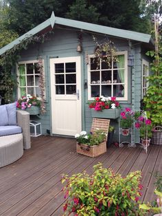 Lovely and Cute Garden Shed Design ideas for Backyard Part 30 ; garden shed ideas; garden shed organization; garden shed interiors; garden shed plans; garden shed diy; garden shed ideas exterior; garden shed colours; garden shed design Backyard Studio, Backyard Sheds, Backyard Landscaping, Cottage Garden Sheds, Garden Houses, Craft Shed, Summer House Garden, Blue Garden, Studio Shed