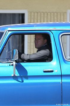 Pin for Later: #TBT to Magic Mike XXL's Sexy Behind-the-Scenes Pictures  Tatum's character, Mike, is rocking a shiny blue truck.