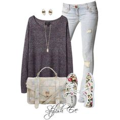 Jeans, grey sweater and flowers sneakers