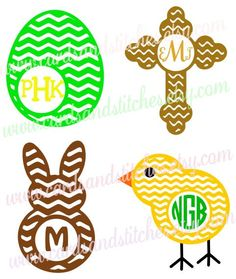 Easter Monogram Chevron Frames Vinyl Decal for Cups OR Iron-on Transfer for Onesies and Shirts - Bunny - Chick - Egg - Cross by cardsandstitches on Etsy