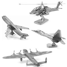 3D Puzzle Metal DIY Assembly Model Aircraft Bomber Helicopter Plane Educational Toys Stainless Steel Adult  Jigsaw Model Puzzle